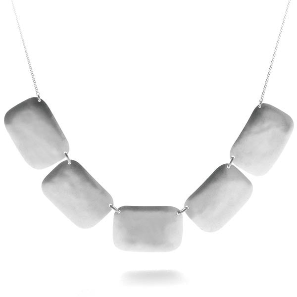 Hammered Sterling Silver Rectangle Necklace