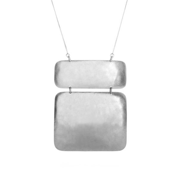 Hammered Sterling Silver 2 Section Necklace