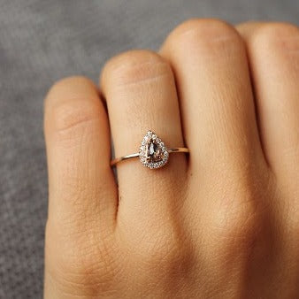 14k Rose Gold Burgundy Pear Shaped Halo Solitaire | Magpie Jewellery