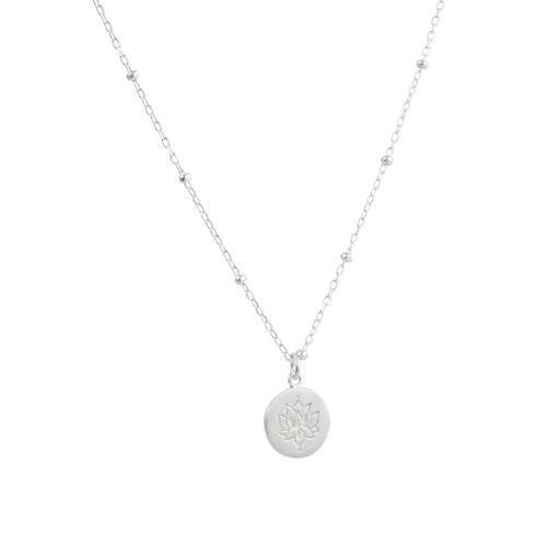 Engraved Lotus Disc Necklace