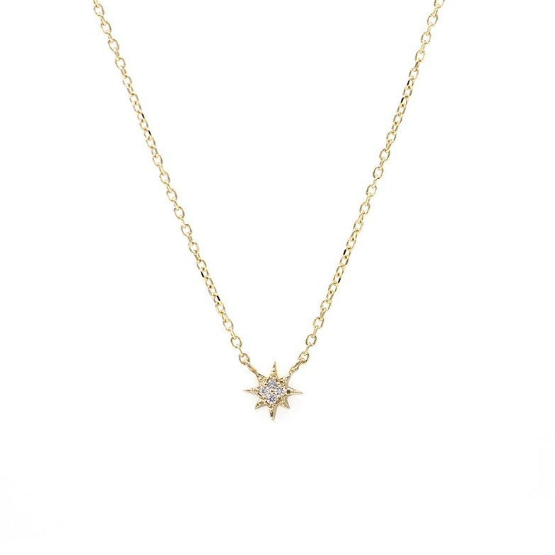 Aztec Micro North Star Necklace YG | Magpie Jewellery