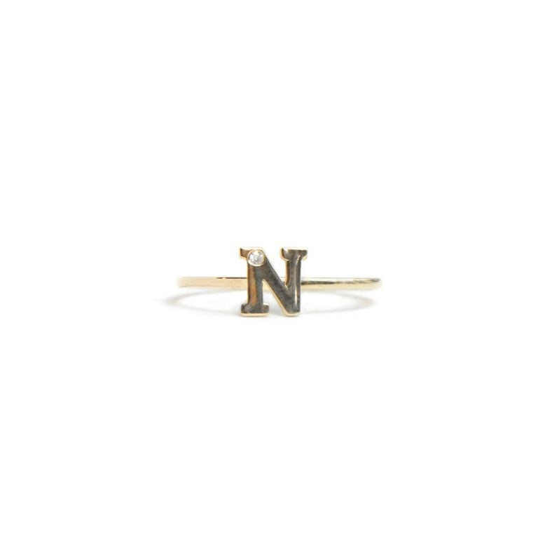 Love Letter single diamond ring A to Z - Diamond & Gold