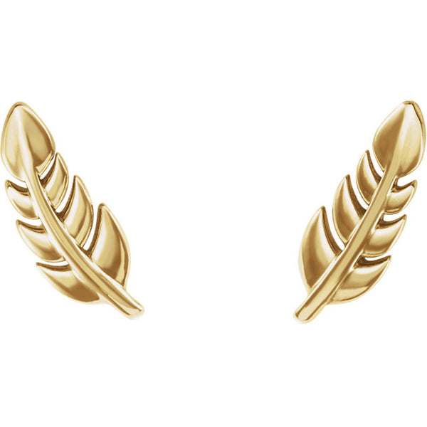 Yellow Gold Leaf Studs