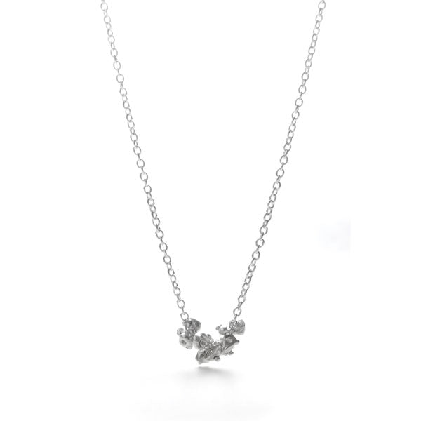 Sterling Silver Nugget Cluster Necklace