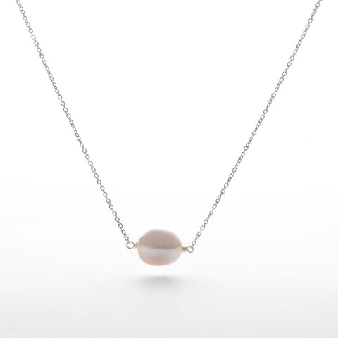 Oval Pink Pearl Necklace