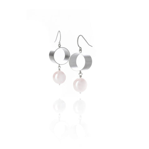 Sterling Silver Tube and Pearl Earrings