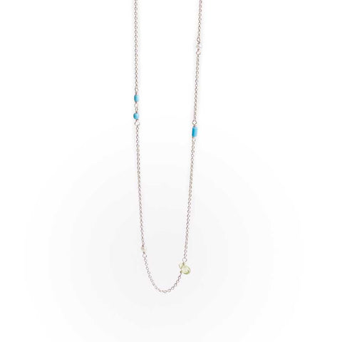 Sterling Silver Necklace with Turquoise, Pearl and Peridot