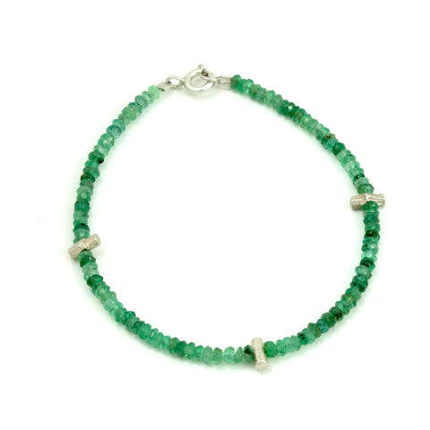Emerald Three Twig Bracelet