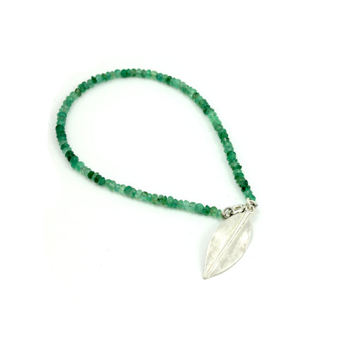 Sterling Silver Leaf and Emerald Bracelet