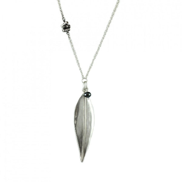 Willow Leaf with Oxidized Twig and Pearl Necklace