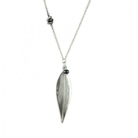 Willow Leaf with oxidized Twig and Pearl neckpiece