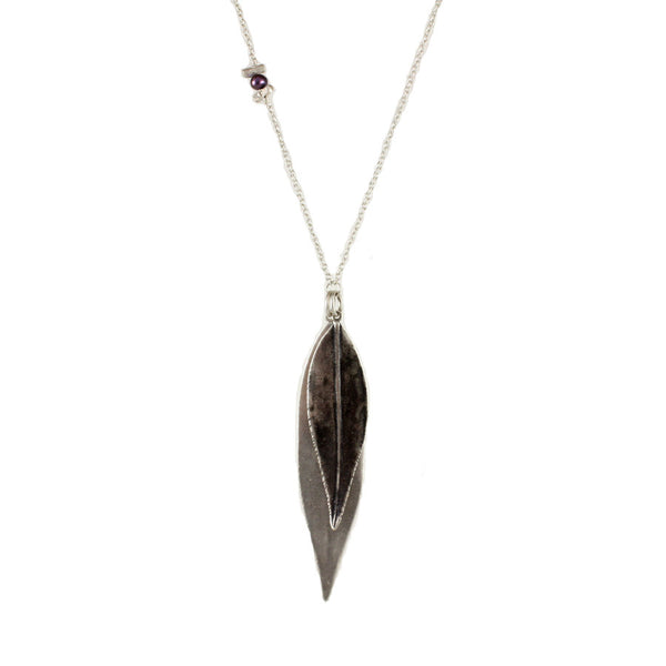Oxidized Sterling Silver Double Leaf Necklace