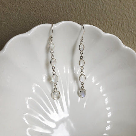 Four-Stone Moonstone Drop Earrings