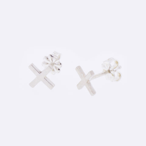 Sterling Silver Small X Earrings