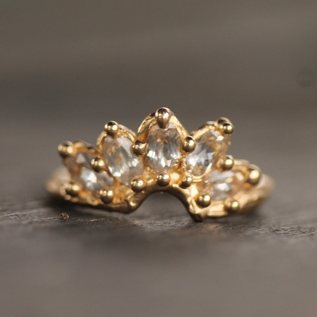 Mermaid Crown Ring with White Sapphires