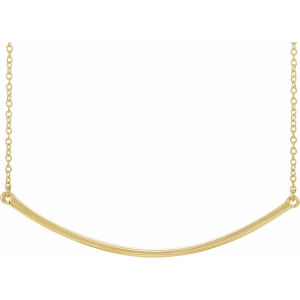 14K Yellow Curved Bar Necklace
