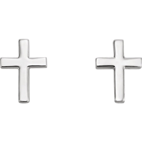 Cross Studs - White gold