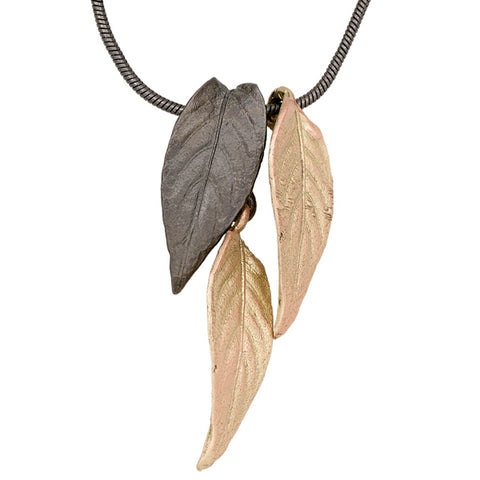 Persian Shield Two Tone Triple Leaf Necklace
