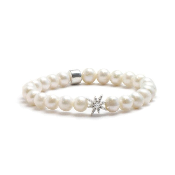 Boheme Silver Starburst Bracelet with Fresh Water Pearls | Magpie Jewellery