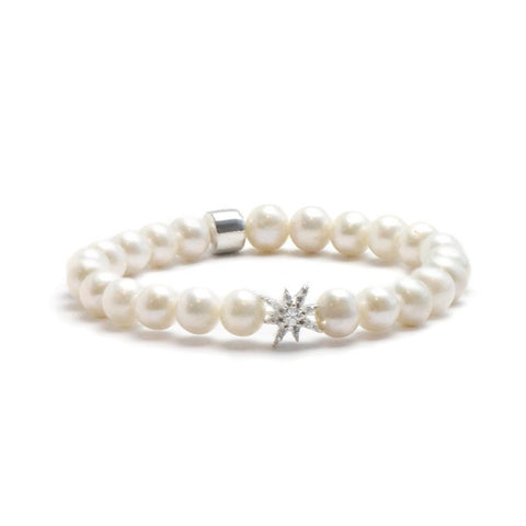 Boheme Silver Starburst Bracelet with Fresh Water Pearls