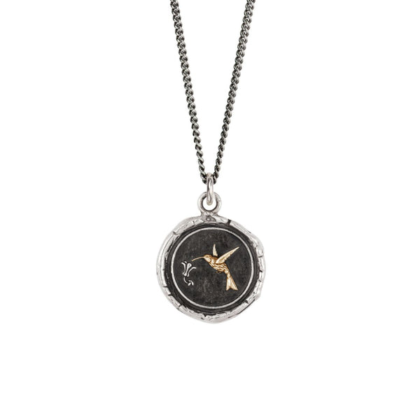 Hummingbird 14K Gold On Silver Talisman