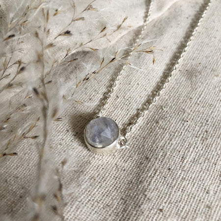 Small Round Faceted Moonstone Necklace