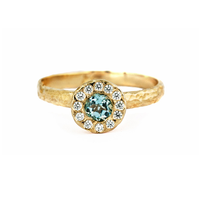 Gold Aquamarine Ring with Halo of Diamonds