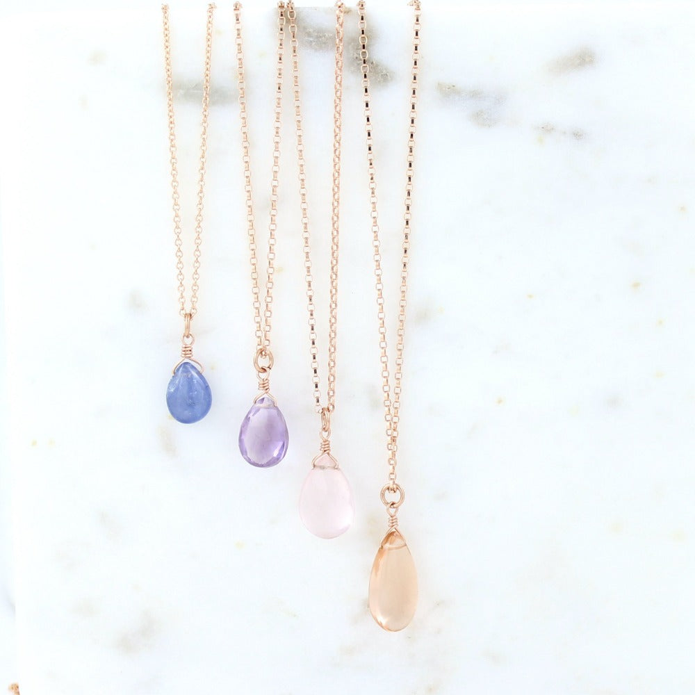 Rose Gold Fill Solo Gemstone Necklace | Magpie Jewellery | Iolite (Not Listed For Sale) | Amethyst | Rose Quartz | Champagne Quartz | Listed Left-to-Right