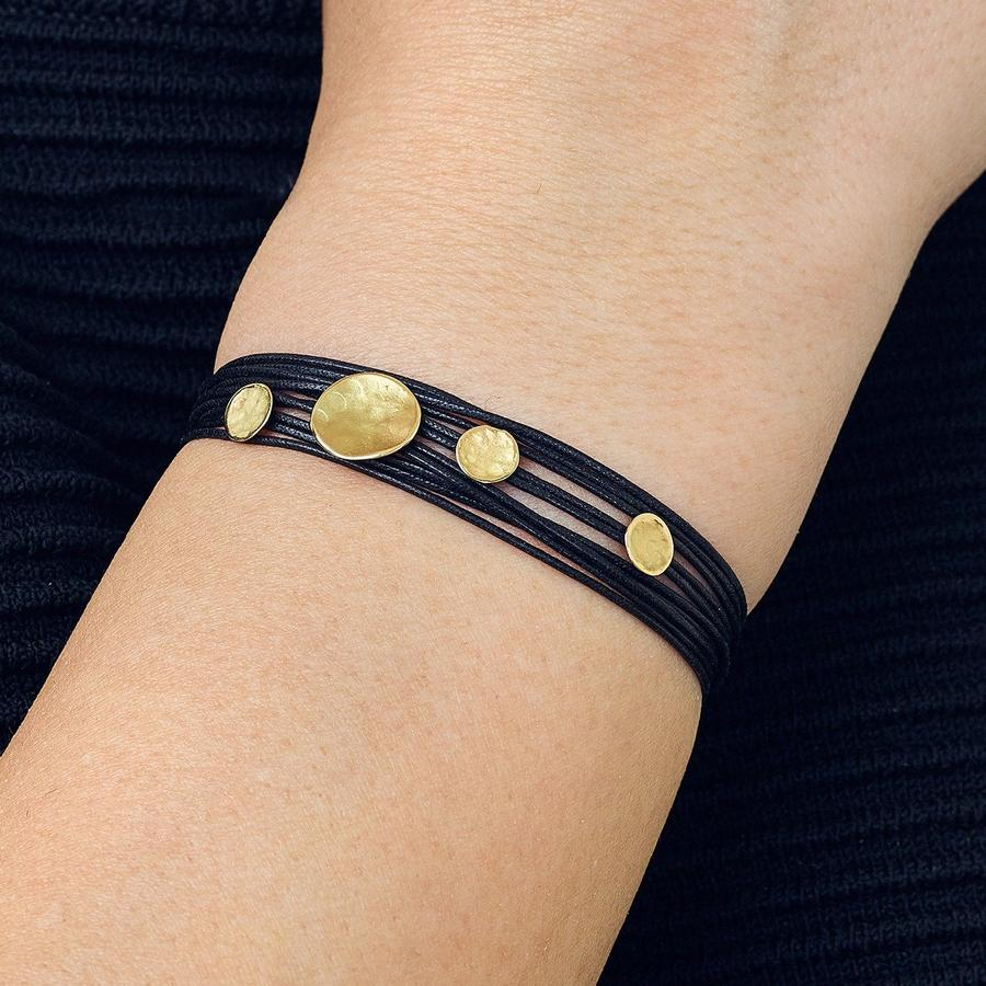 Black Linen Cord Four Hammered Disc Bracelet | Magpie Jewellery