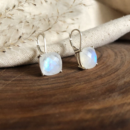 Faceted Moonstone Drop Earrings with Leverback Closure