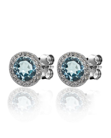 Blue Topaz with CZ Halo Earrings