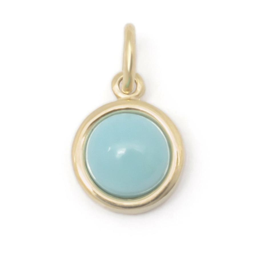 Gemstone Cup Charm - Turquoise YG