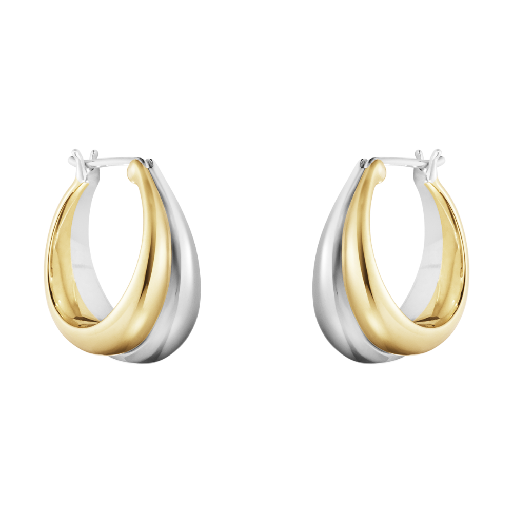 Curve 18K Gold and Silver Hoops