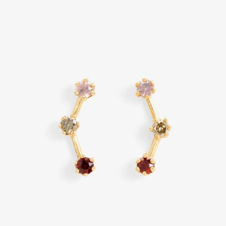 Red-Tone Triple Stone Studs | Magpie Jewellery
