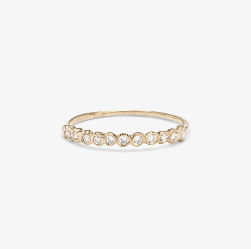 Small White Diamond Circle Half Eternity Band WG | Magpie Jewellery