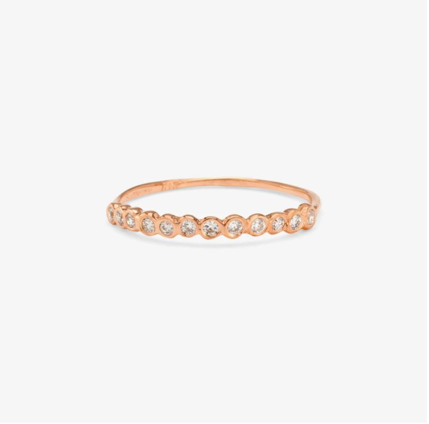 Small White Diamond Circle Half Eternity Band RG | Magpie Jewellery