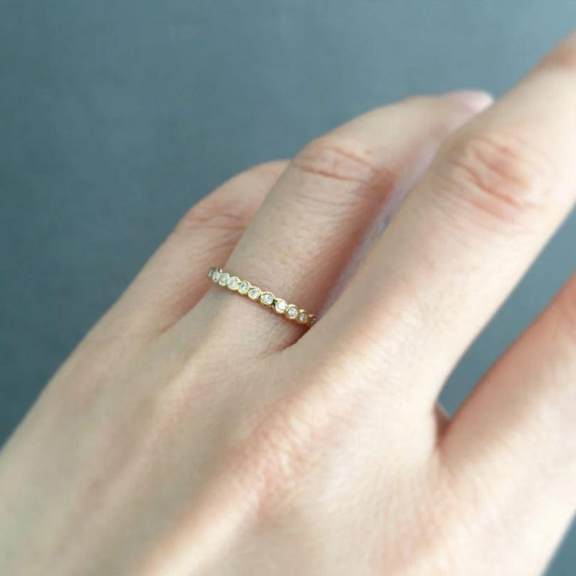 Small White Diamond Circle Half Eternity Band YG | Magpie Jewellery