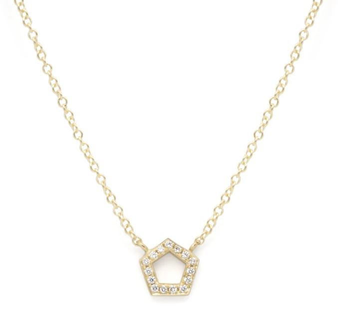 Mini Pave Pentagon Necklace - YG