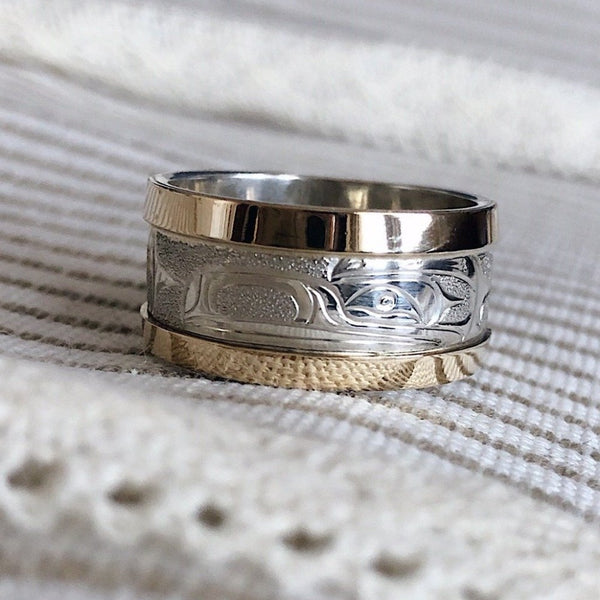 14K Yellow Gold & Silver Raven Ring