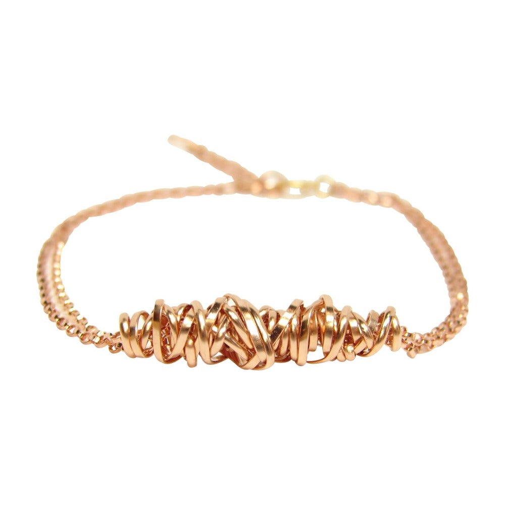 Twist Bracelet - Small | Magpie Jewellery | Rose Gold | Detail Shot