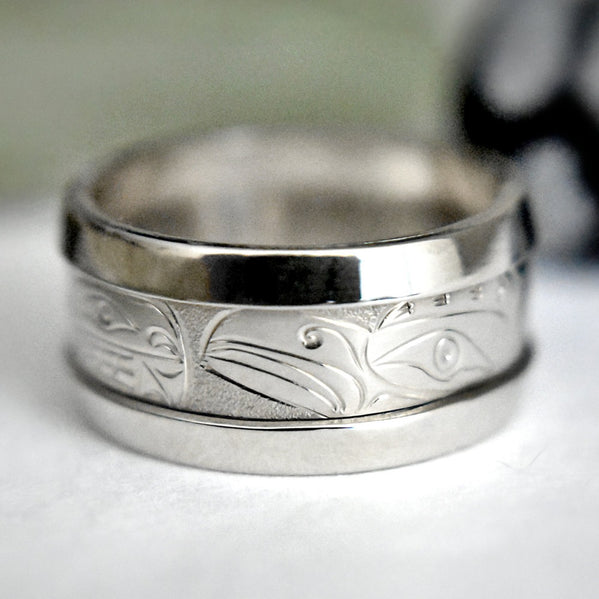 14K White Gold Loon & Killer Whale Ring