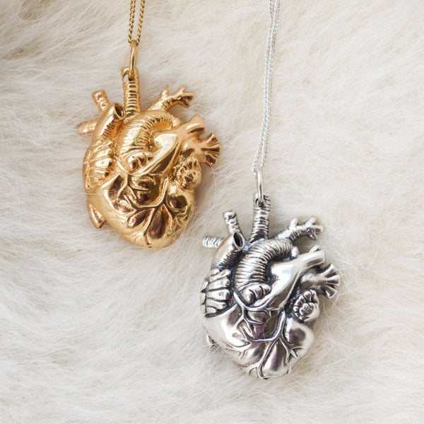 Brass Anatomical Heart Pendant Necklace 30""