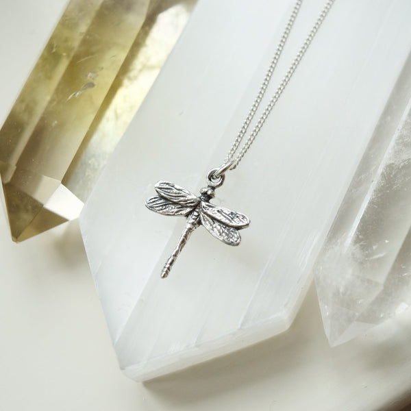 Tiny Silver Dragonfly Necklace