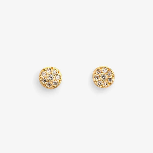 Diamond Disc Earrings YG | Magpie Jewellery