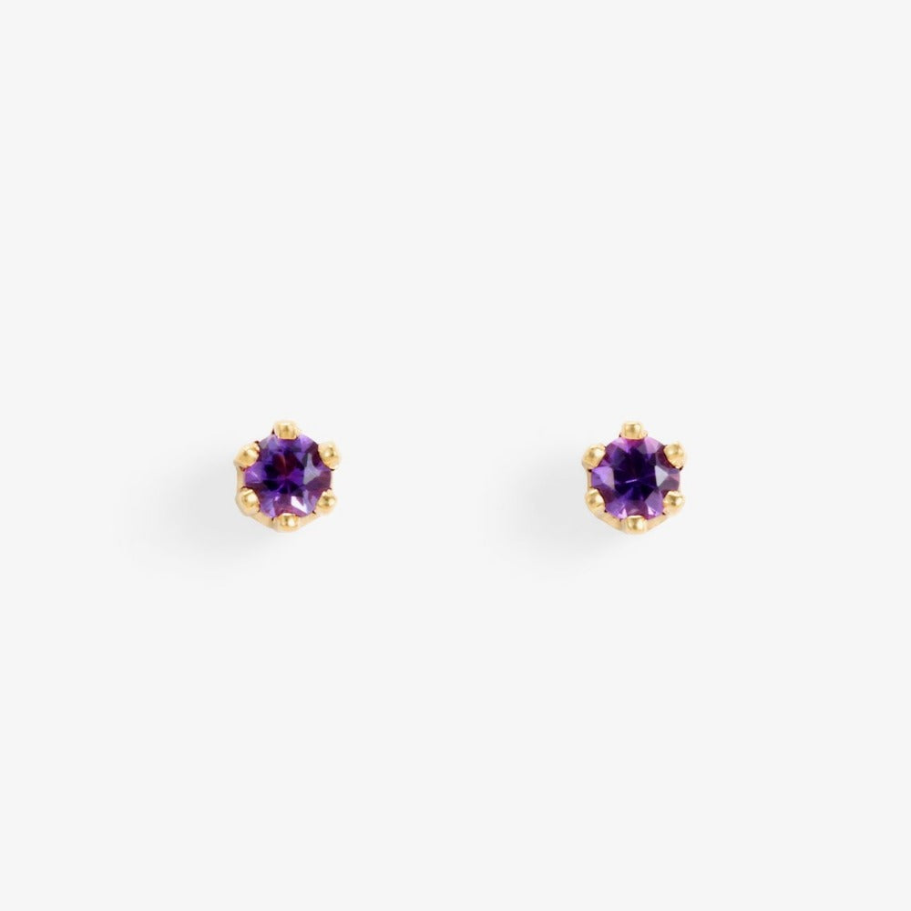 Baby Amethyst 6 Prong Studs | Magpie Jewellery