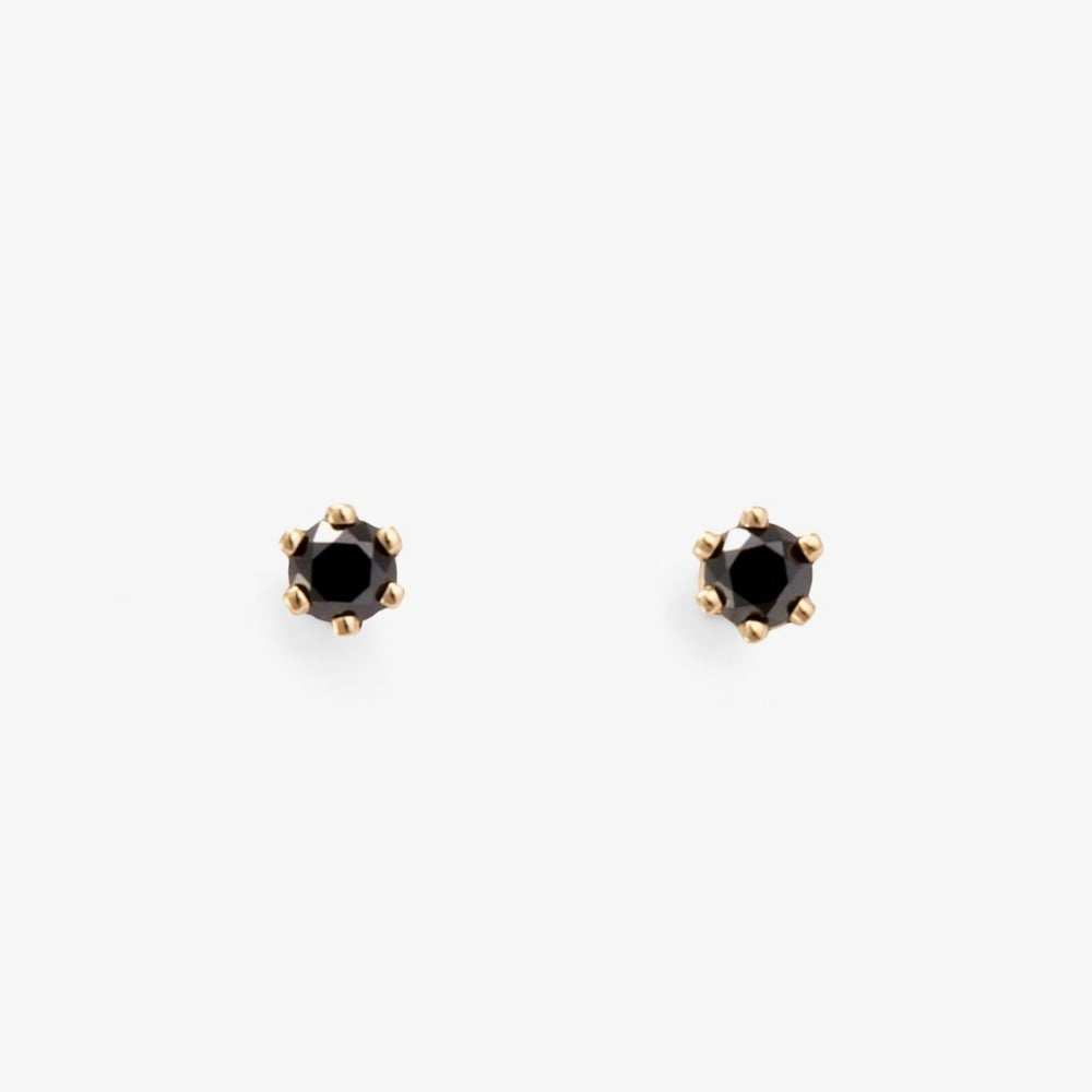 Baby Black Diamond 6 Prong Studs | Magpie Jewellery