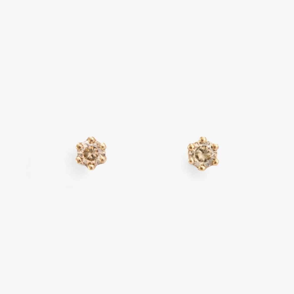 Baby Brown Diamond 6 Prong Studs | Magpie Jewellery