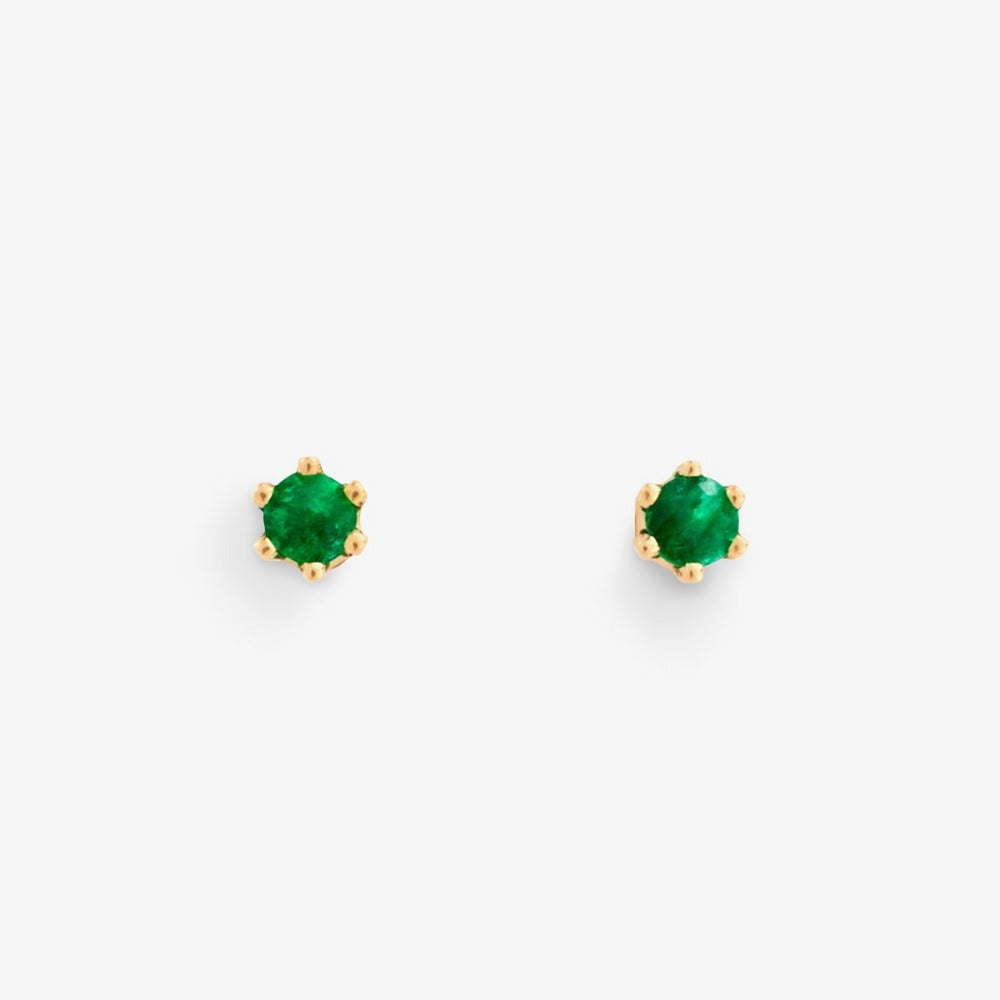 Baby Emerald 6 Prong Studs | Magpie Jewellery