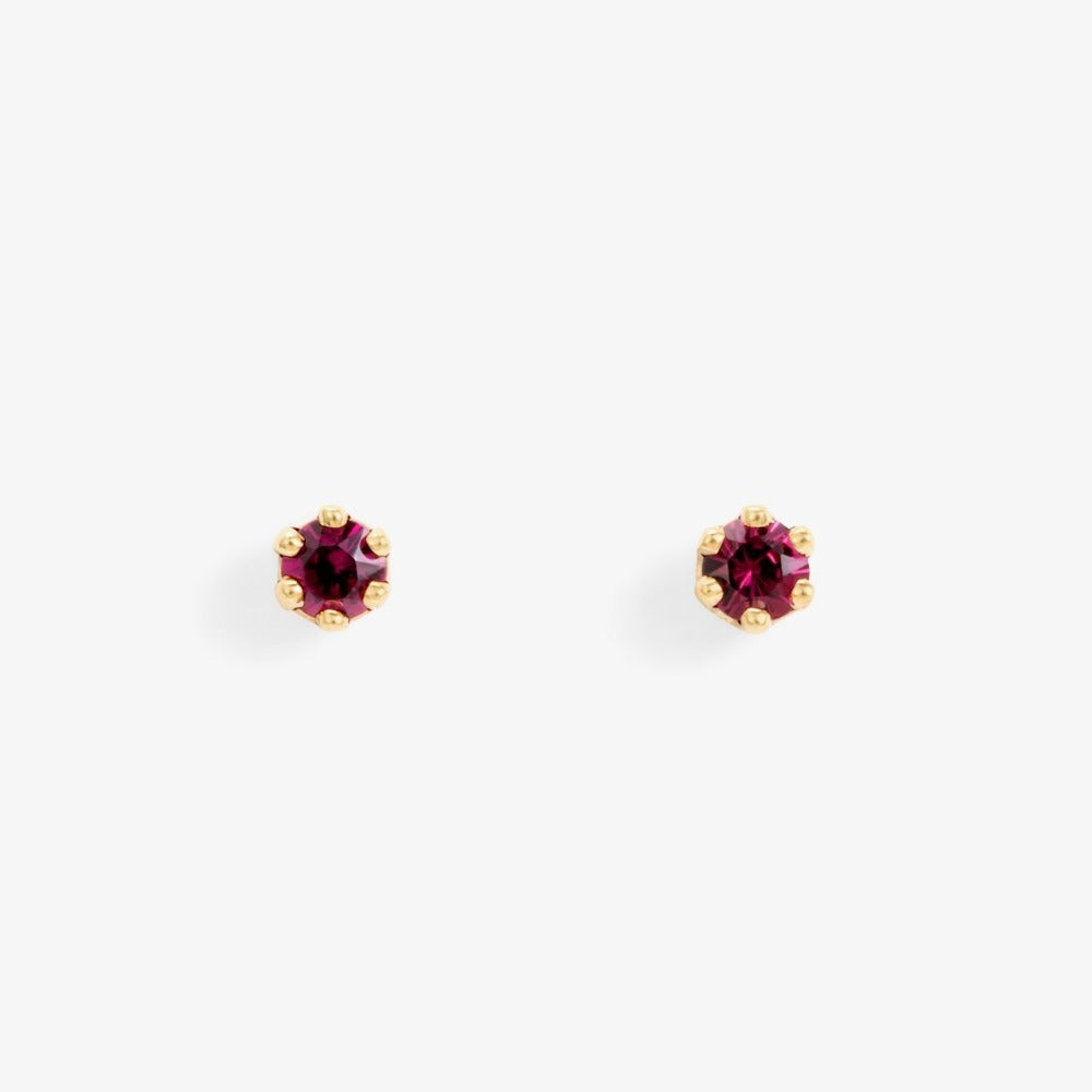 Baby Garnet 6 Prong Studs | Magpie Jewellery