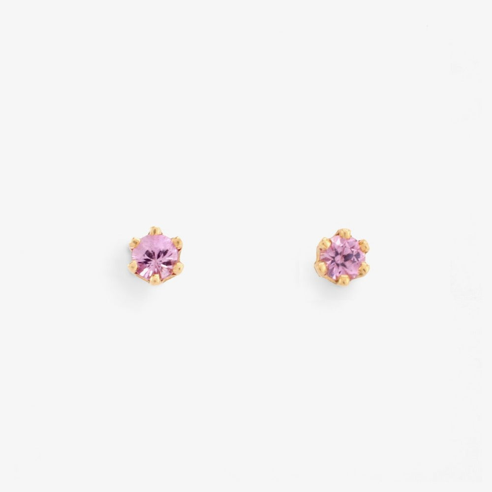 Baby Pink Sapphire 6 Prong Studs | Magpie Jewellery